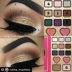 Gold eye makeup. Too Faced Maquillaje dorado de ojos