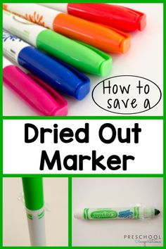 How to save a dried out marker in three easy steps! This is one of those tricks I wish I would have done ages ago. Cute Kids Crafts, Toddler Crafts, Kid Crafts, Painting Activities, Activities For Kids, Learning Resources, Fun Learning, Preschool At Home, Preschool Teachers