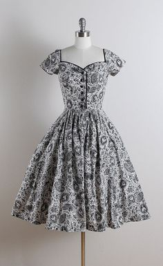 ➳ vintage 1950s dress * white cotton * black mythical folk novelty print…