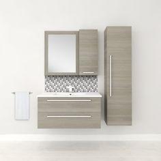 Mcpeak Wall-Mounted Single Bathroom Vanity Set - Lilly is Love Small Bathroom Vanities, Single Bathroom Vanity, Bathroom Storage, Master Bathroom, Small Bathroom Plans, Bronze Bathroom, Shower Bathroom, Small Bathrooms, Bathroom Faucets