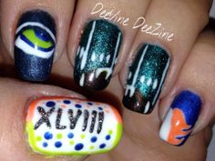 super bowl 48, super bowl nail art, super bowl mani, broncos nails, seahawk nails, super bowl nails, super bowl mani, broncos mani, seahawks mani, sensationail gel