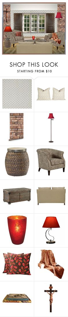 """living room"" by mysfytdesigns ❤ liked on Polyvore featuring interior, interiors, interior design, home, home decor, interior decorating, Therapy, Universal Lighting and Decor, Hammary and Signature Design by Ashley"