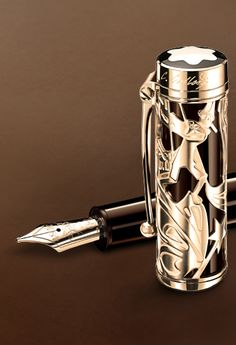 silver filigree design and style would improve my handwriting, Pinocchio Montblanc Fountain Pen