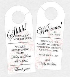 Set of 10 - Double-Sided Swirl Door Hanger for Wedding Hotel Welcome Bag - Do Not Disturb - Door Hanger, Welcome Tag - Destination Wedding