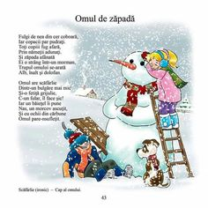 Omul de zăpadă poezie copii Kindergarten, Little Einsteins, Kids Poems, Teacher Supplies, Useful Life Hacks, Home Schooling, Worksheets For Kids, Winter Activities, Raising Kids