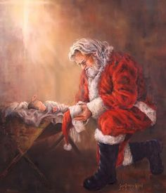 My precious sweet baby Jesus.I bow down to you. Merry Christmas~ This is my favorite picture of baby Jesus and Santa! Noel Christmas, Winter Christmas, Vintage Christmas, Christmas Cards, Christmas Decorations, Pictures Of Christmas, Father Christmas, Christmas Prayer, Santa Pictures
