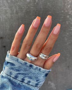 Peach Nails, Orange Nails, Purple Nails, Pastel Nails, Peach Colored Nails, Colorful Nails, Green Nails, Summer Acrylic Nails, Best Acrylic Nails