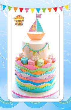 Pastel Waves and Blocks with Bunting Cake and Sail Boat Topper