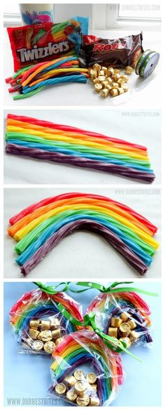 Cute Idea to mail :) Pot of gold ~ rainbow party favors! So Cute, Love this Idea St Patty's Day :)) Rainbow Loom Party, Rainbow Party Favors, Rainbow Birthday Party, Rainbow Treats, Rainbow Food, Rainbow Candy, Rainbow Parties, Party Favours, Rainbow Theme