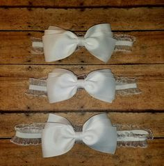 White Ruffled Hair Bow Headband by SouthernBelleCre2014 on Etsy