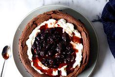 """sunken black forest cake – smitten kitchen + """"steak dinner for vegetarians"""" Smitten Kitchen, Sweet Recipes, Cake Recipes, Dessert Recipes, Dinner Recipes, Food Cakes, Cupcake Cakes, Cupcakes, Onigirazu"""
