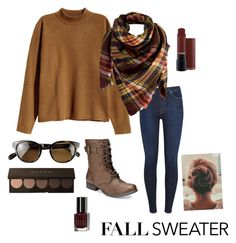 """""""Fall Sweater"""" by emmagrace1748 ❤ liked on Polyvore featuring H&M, 7 For All Mankind, Peach Couture, American Rag Cie, Oliver Peoples and Bobbi Brown Cosmetics"""