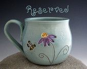 Pottery Mug in Vintage Turquoise with Bee and Echinacea Flower - Coffee Mug - by DirtKicker Pottery diypottery diy pottery cup Pottery Mugs, Pottery Place, Slab Pottery, Clay Mugs, Vintage Turquoise, Ceramic Cups, Coffee Mugs, Carving, Ceramics