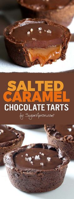 Chocolate Salted Caramel Tarts - A buttery chocolate crust with a soft caramel filling, topped with chocolate ganache and flaky sea salt. Something that every chocolate and caramel fan should taste. Tarte Caramel, Salted Caramel Chocolate Tart, Chocolate Caramels, Chocolate Ganache, Chocolate Tarts, Salted Caramel Desserts, Chocolate Deserts, Caramel Cupcakes, Decadent Chocolate