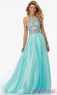 Sleeveless Embroidered Tulle Prom Dress