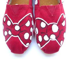 The Minnie - Red and White Custom TOMS. $125.00, via Etsy.