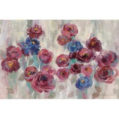 "House of Hampton Frosted Marsala Florals Painting Print on Wrapped Canvas Size: 26"" H x 40"" W x 1.5"" D"