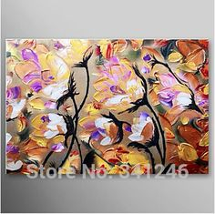 hand-painted-big-size-modern-wall-art-home-decor-living-room-brown-white-flowers-palette-knife-landscape-oil-painting-on-canvas-15815.jpg (386×385)