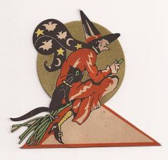 Vintage 1930's Gibson Halloween Flying Witch Black Cat Party Place Card
