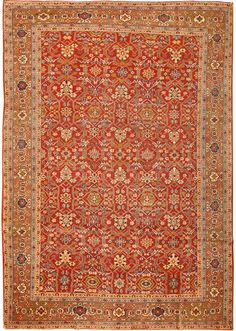 Antique Sultanabad Mahal Rug, Country Of Origin: Persia, Circa Date: Late 19th Century 8 ft 5 in x 12 ft 2 in (2.57 m x 3.71 m)
