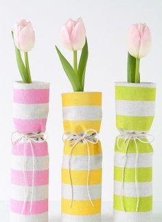 idées déco printaniere-vases-rubans-tulipes