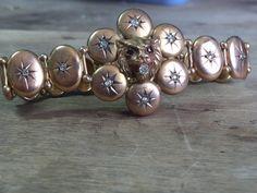 Vintage 9ct yellow gold diamond bracelet by VictoriaVVintage on Etsy