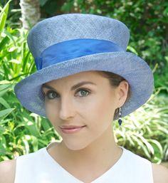 Chapeau de paille pour femmes, chapeau mariage, chapeau de l'église, Mad Hatter, chapeau haut de forme, bleu chapeau femmes d'été, chapeau formelle, chapeau habillé, événement Occasion chapeau