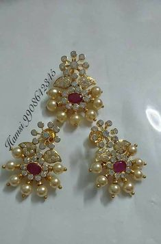 Gold Designs, Gold Earrings Designs, Gold Jewellery Design, Indian Wedding Jewelry, Bridal Jewelry, Pearl Jewelry, Gold Jewelry, Siri, Simple Jewelry