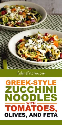 Greek-Style Zucchini Noodles with Tomatoes, Olives, and Feta, have all the flavors that make Greek Salad such a popular dish; use cherry tomatoes if you don't have garden tomatoes! Zoodle Recipes, Spiralizer Recipes, Veggie Recipes, Keto Recipes, Vegetarian Recipes, Cooking Recipes, Healthy Recipes, Veggie Noodles, Zucchini Noodles