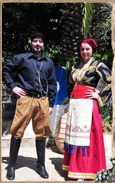 Κιλότα (η αντρική φορεσιά)  και τη γυναικεία φορεσιά Σφακιά της Κρήτης Folk Clothing, Crete, Apron, Culture, Costumes, Embroidery, Clothes, Dance, Fashion