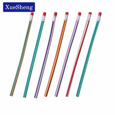 5 PCS Colorful Magic Bendy Flexible Soft Pencil With Eraser For Kids Writing Gift