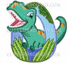 Free Embroidery Design: Jurassic Dinosaur Font – Letter O Cute Embroidery, Machine Embroidery Applique, Free Machine Embroidery Designs, Embroidery Fonts, Free Monogram, Monogram Fonts, Monogram Letters, Cute Alphabet, Font Alphabet