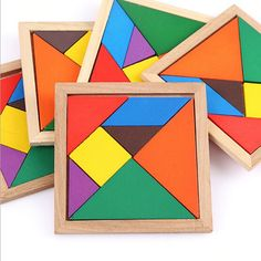 2016 New Toy Children Mental Development Tangram Wooden Jigsaw Puzzle Educational Toys Birthday gifts for children