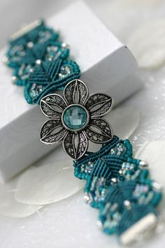 Micro Macrame Bracelet Seed Bead Aqua Turquoise by GetGlassy - the button is perfect.