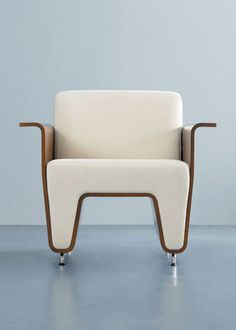 Waltz chair in polished aluminum and molded plywood by OFS--(Please Follow (2) Design-Modern-Furniture-Objects For New Pins)