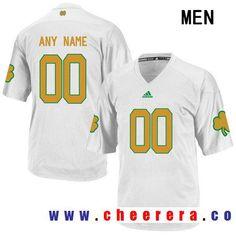 Men\u0027s Notre Dame Fighting Irish Custom Adidas College Football Jersey -  White