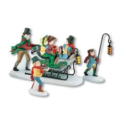 """Caroling With The Cratchit Family"" is a porcelain accessory set that features Mr. Cratchit and Mrs.Cratchit taking their children caroling. The hand-painted details include a sleigh festooned with holiday greenery and one son carrying a lantern to lead the way. The Dickens Village... more details available at https://perfect-gifts.bestselleroutlets.com/gifts-for-holidays/home-kitchen/product-review-for-department-56-dickens-a-christmas-carol-caroling-with-the-cratc"