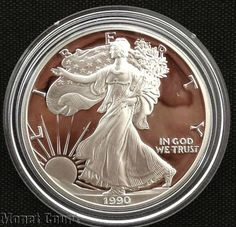 1990 Silver American Eagle Proof Bullion Coin by monetcourt, $72.00