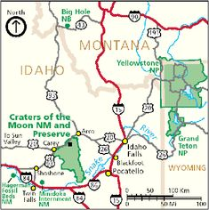 Craters of the Moon National Monument and Preserve Park Map - Idaho ...