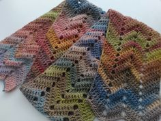 Soft pastel handmade crocheted ripple scarf, wool variegated mix, pink, green, purple, grey, blue, brown by ChesterBunnynuts on Etsy