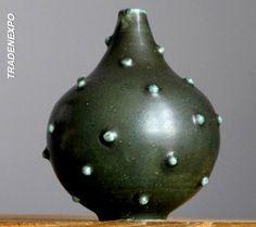Vintage 60-70's STUDIO ART Khaki Spikes Weed Pot Vase German Pottery Fat Lava E #MidCenturyModern