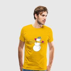 Snowman with scarf blowing in the wind Tee Shirt by #Gravityx9 at #Spreadshirt -    This design is also available on tee shirts, mugs, pillows, electronic cases and more!~Shirts are available in several colors, sizes and styles (hoodies, tank tops, etc).    Click the Size Chart for the best fit. You can add text or an image to the back side of the shirt, too. #snowmenyearround