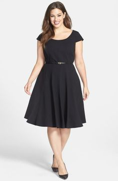 Nordstrom  Calvin Klein Cap Sleeve Fit & Flare Dress (Plus Size)