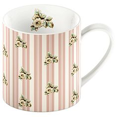 Katie Alice Cottage Flower mug with pink stripe. #shabby #chic