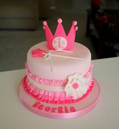 Georgia's mom wanted her cake to be pink, girly and sparkly =) The cake is chocolate. The crown is gumpaste and everything else is fon. Cupcakes, Cupcake Cakes, Pretty Cakes, Beautiful Cakes, Prince Cake, 1st Birthday Cakes, Birthday Ideas, Pink Sweets, Cake Decorating Tips