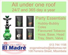 We stock a wide range of party essentials all under one roof. Whether you require the entire Hubbly-Bubbly or just parts, also you would need Coles and, we have a wide range of Hubbly flavours, we guarantee to have a flavour for everyone.  If classic is more your style we also sell cigars for our more traditional party flavours.  Visit our store at 108 Ferreira Street Mbombela 1201 too view all our products available in our store. #elmadreengen #hubbly #engen Filling Station, Cigars, Bubbles, Essentials, Range, Traditional, Street, Classic, Party