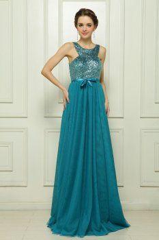 To ground plane sequins blue evening dress