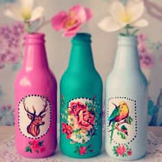 diy inspiration, glass bottle, jam jar, illustration, traditional tattoo style, colourful, room decor, interiors, bedroom, study, desk, deer head, roses, bird