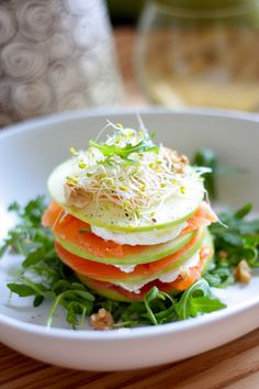 Smoked salmon mille feuilles