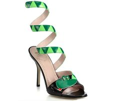 Moschino Cheap And Chic Snake Wrap-Around Patent Leather Sandals